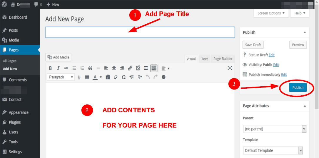 Publishing a WordPress Page