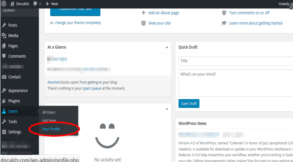 Set up User's Profile from WP Dashboard