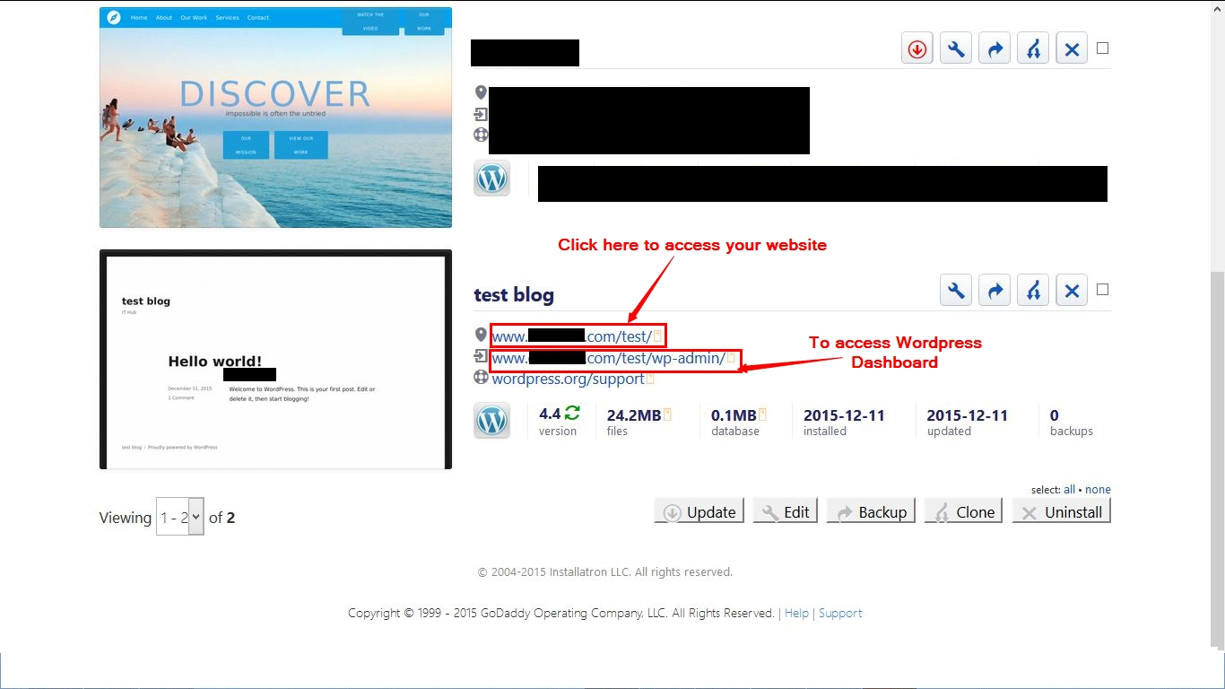 how to access your website after wordpress installation