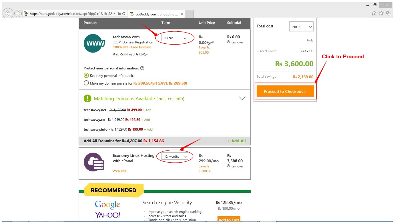 how to buy free domain & hosting from GoDaddy.com